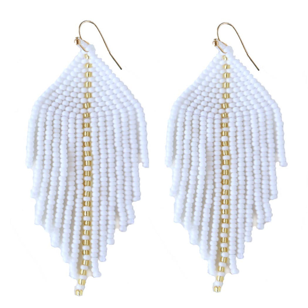 Raya Beaded Earrings White