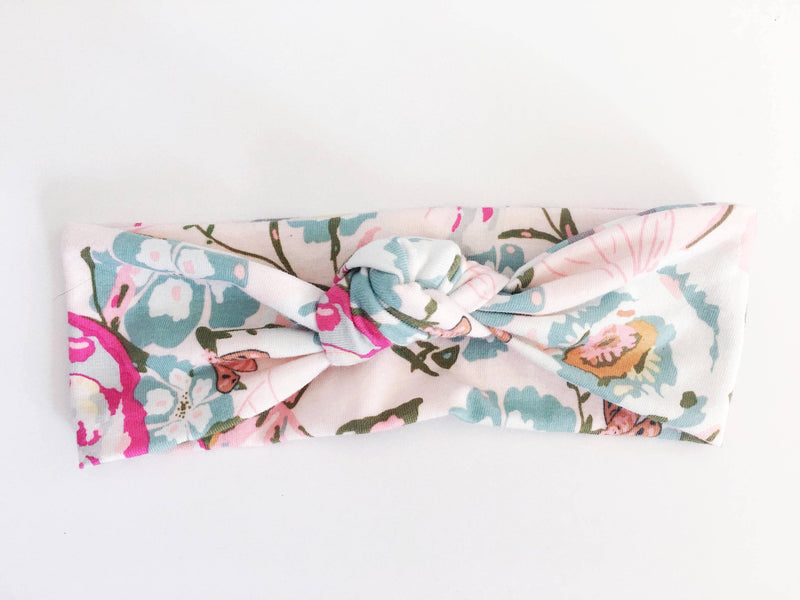 Pink Floral Top Knot Headband