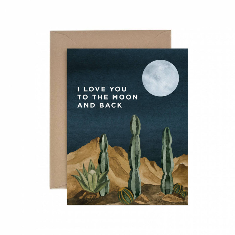 Moon and Back Love Greeting Card