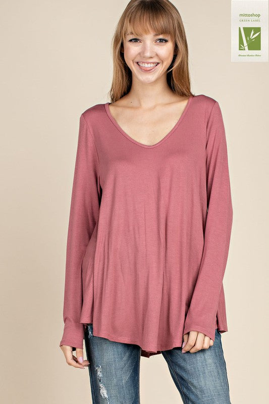 Perfect Bamboo Marsala Flowy Long Sleeve