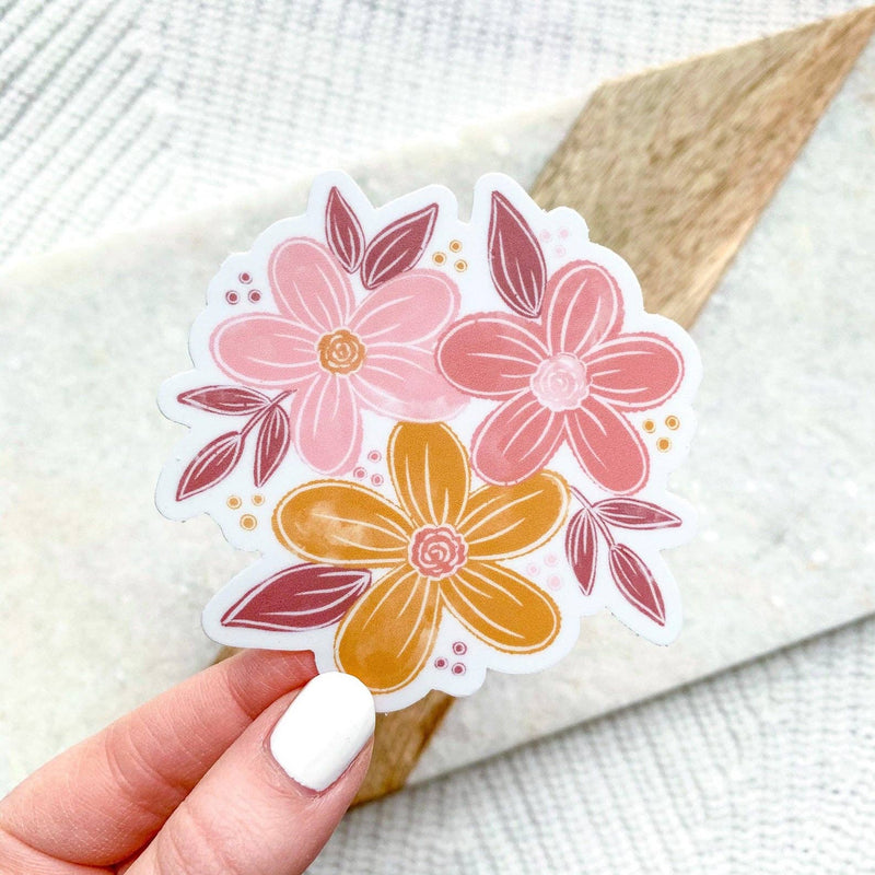 Happy Florals 3x3in. Sticker