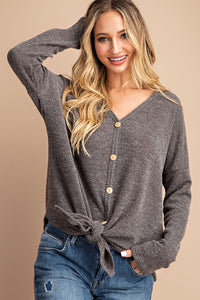 Cozy Button Tie Top