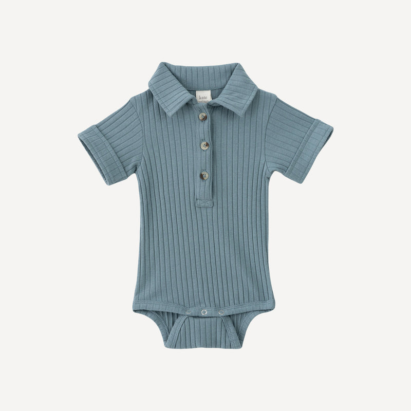 Short Sleeve Collar Bodysuit- Winterlake Blue