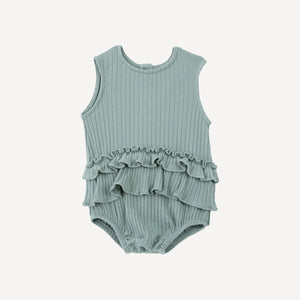 Sleeveless Ruffle Skirted Bodysuit- Jadeite