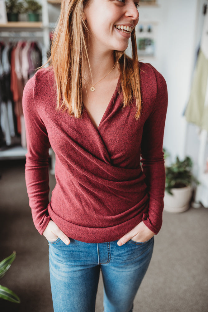 Cranberry Soft Wrap Top