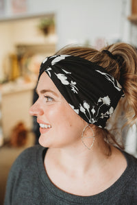 Black + White Floral- Wide Headband | Turban | Twist | Yoga