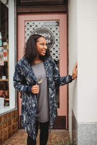 Organic Cotton Midnight Floral Raincoat