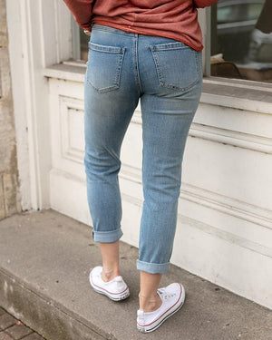 True Distressed Cotton Girlfriend Denim