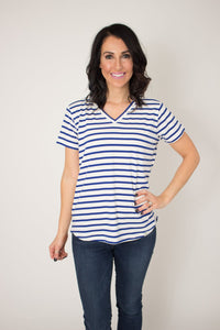 Rescued Cotton Navy Stripe Vneck Tee