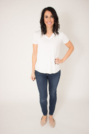 Rescued Cotton Ivory Vneck Tee