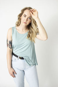Rescued Cotton Light Stretch Tank - Sweet Mint