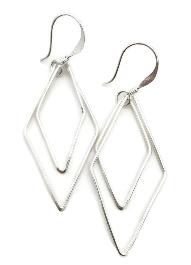 Double Geo Earrings - Silver