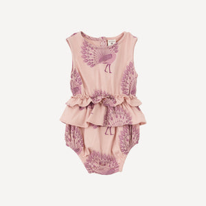 Sleeveless Ruffle Skirted Bodysuit- Rose Peacock