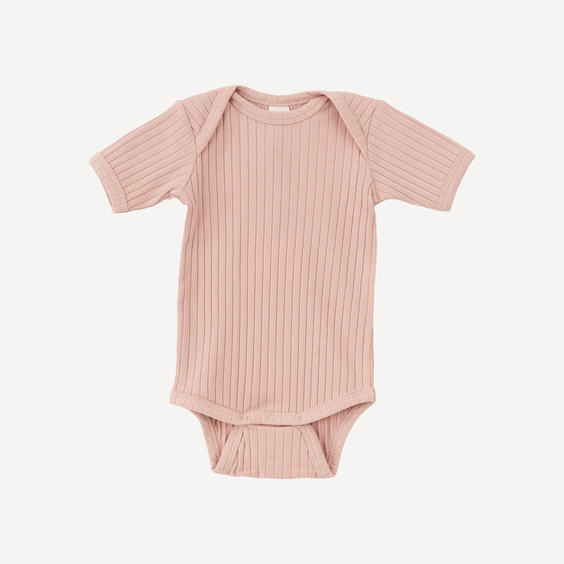 Organic Cotton Short Sleeve Onesie- Cameo Rose