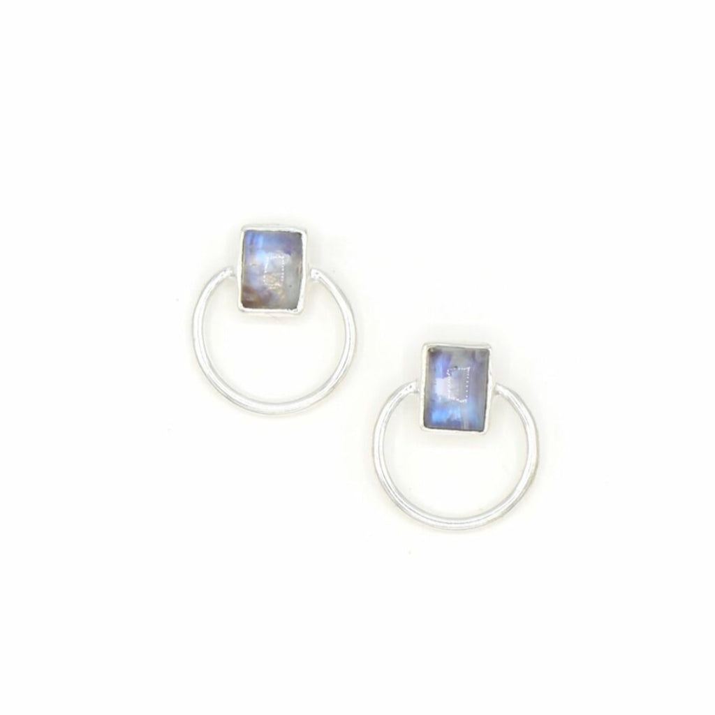 Midnight Moonstone Studs
