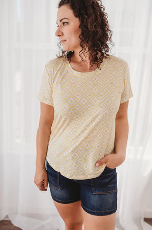 Rescued Cotton Lemon Burst Scoop Tee