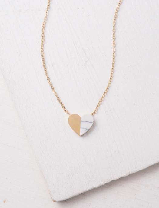 Gold Marbled Heart Necklace
