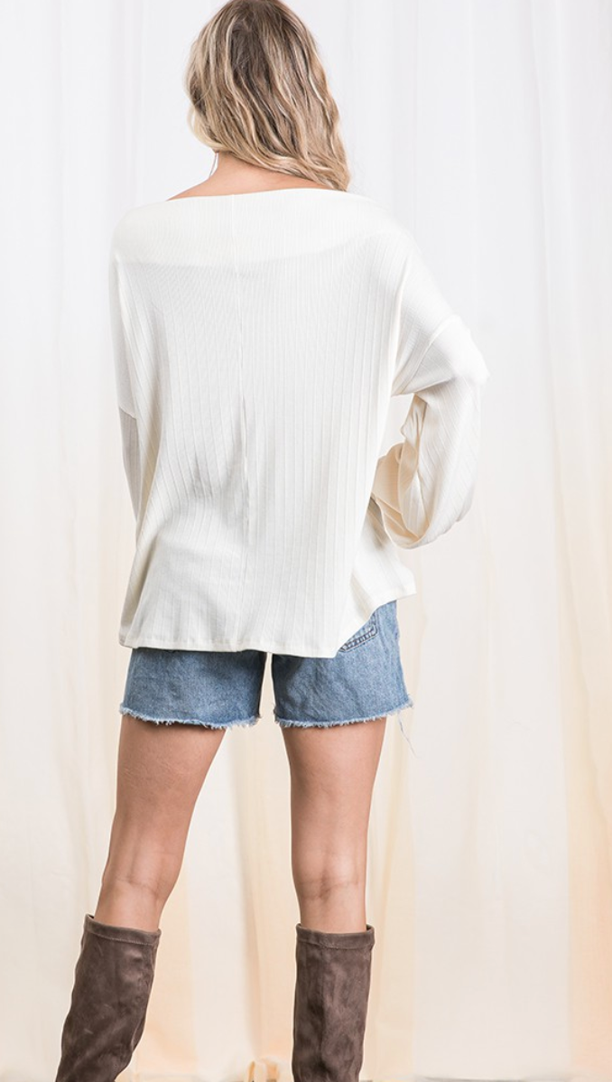 Ivory Drape Balloon Sleeve Top