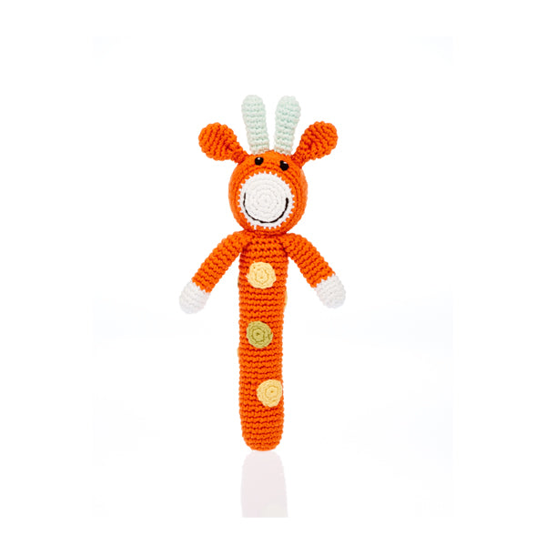 Fair Trade Knit Animal Stick Rattle