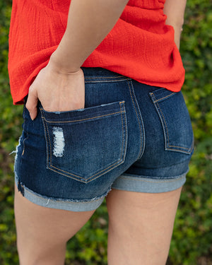 Perfect Distressed Shorts - Dark Wash