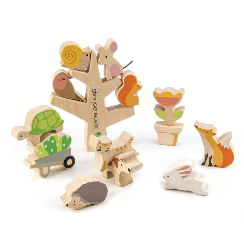 Wooden Garden Friends Stacking Game