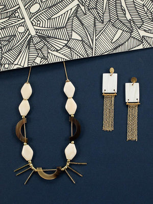 Shell Fringe Chandelier Earrings