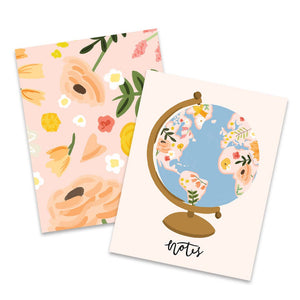 Floral Globe Pocket Notebook Set