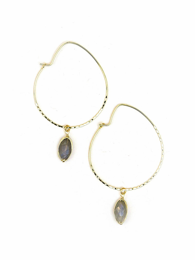 Labradorite Hoop Earrings