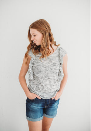 Light Stretch Organic Cotton Haze Ruffle Top *XS-XL