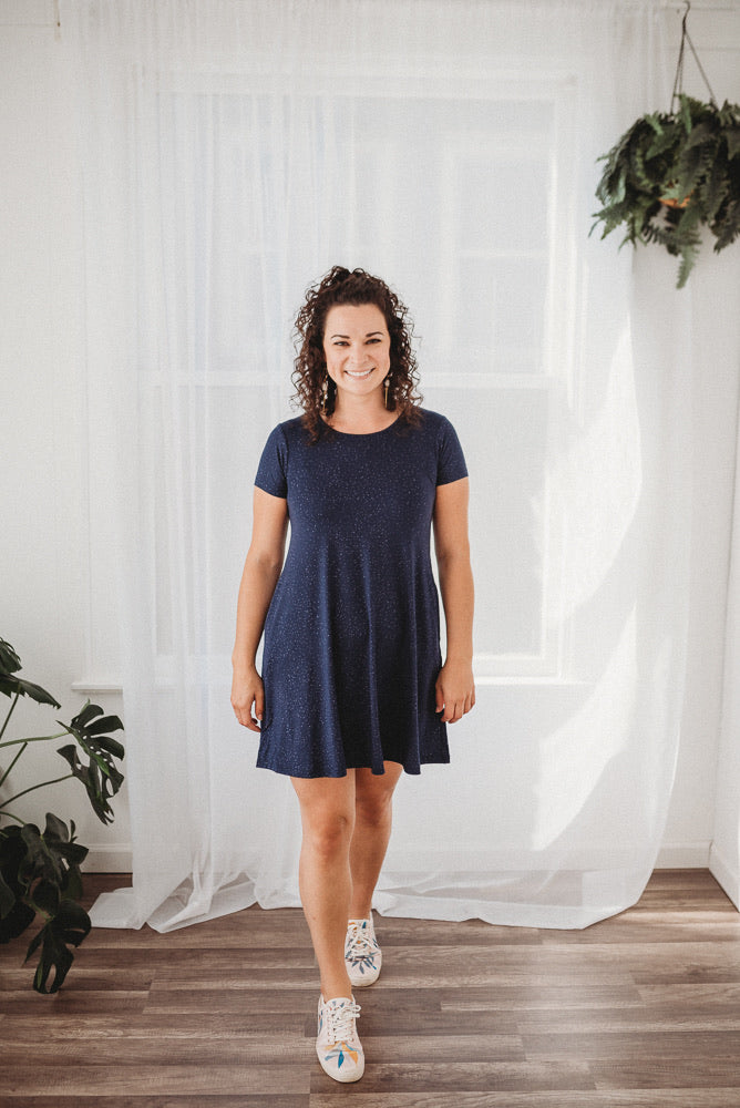 Rescued Cotton Navy Galaxy Swing Dress