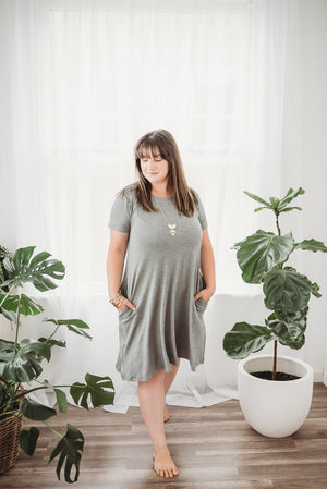 Rescued Cotton Empire Grey Swing Dress