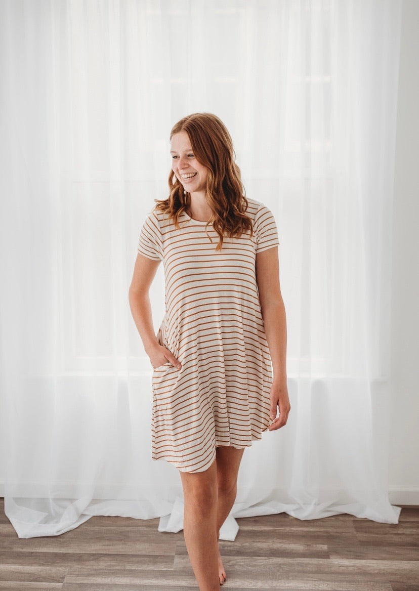 Rescued Cotton Honey Stripe Swing Dress