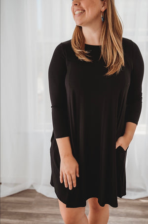 Bamboo Black Sleeve Dress