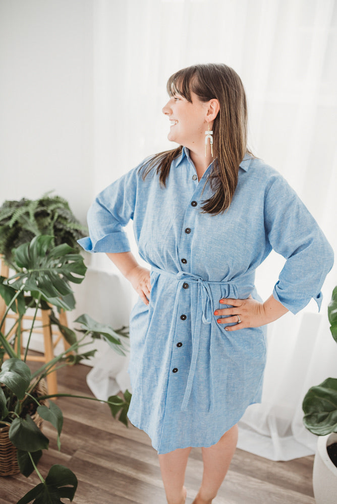 Rescued Linen Blend Button Dress