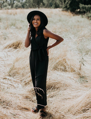 Black Side Tie Jumpsuit