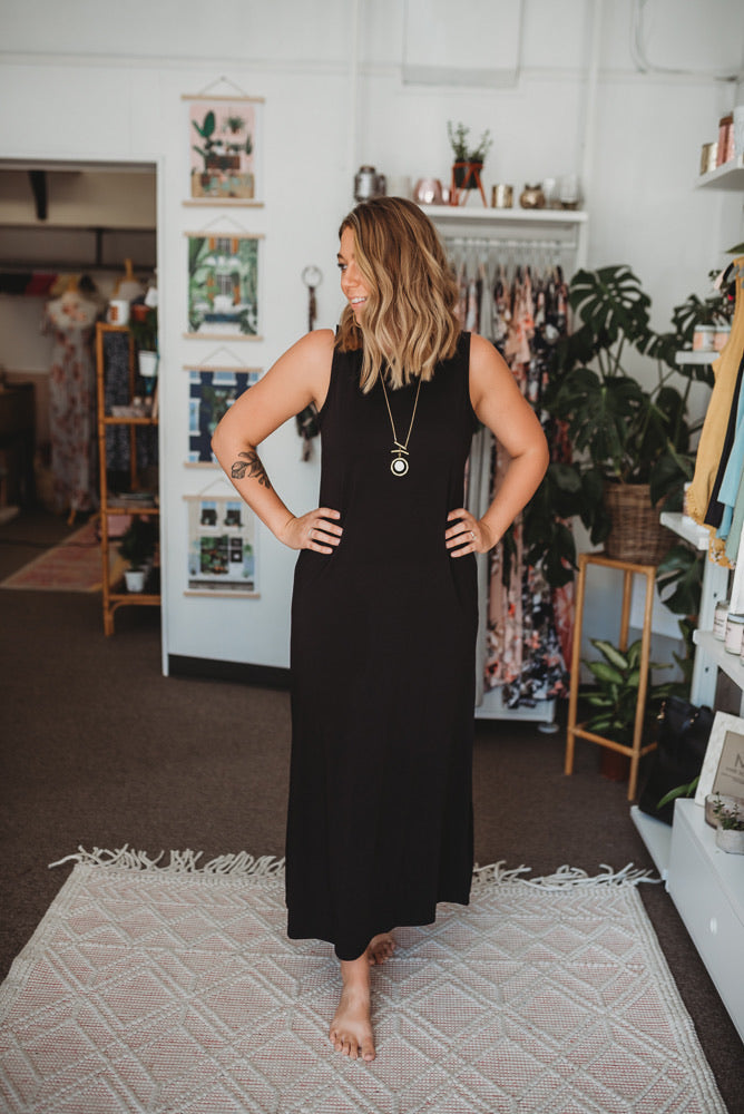 Sleeveless Maxi Tank Dress in Black, Olive OR Charcoal