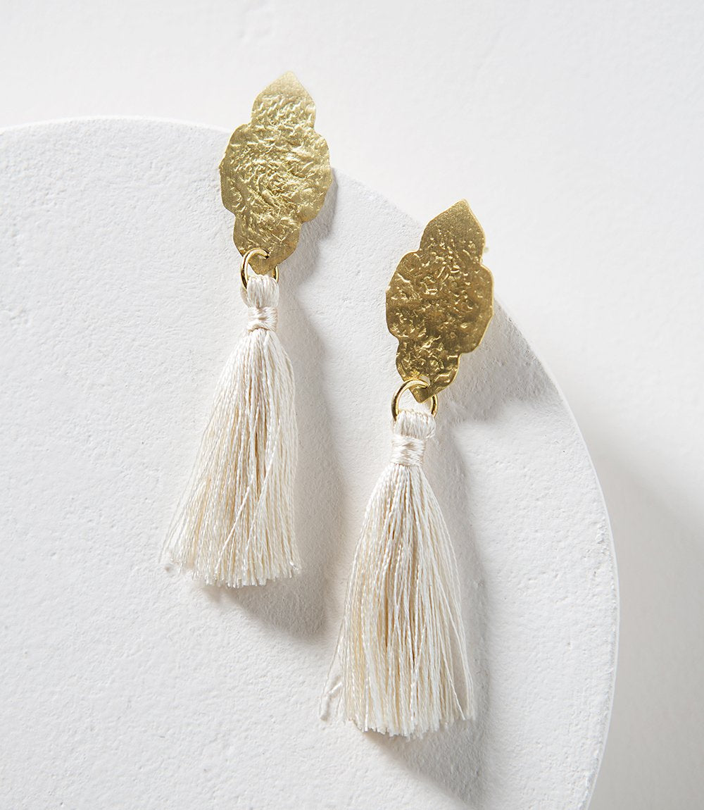 Nihira Ashram Window Earring - Gold Tassel