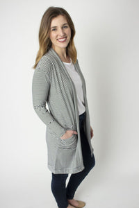 Mod Stripe Rescued Cotton Cardigan