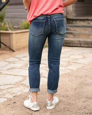 True Dark Wash Distressed Cotton Girlfriend Denim