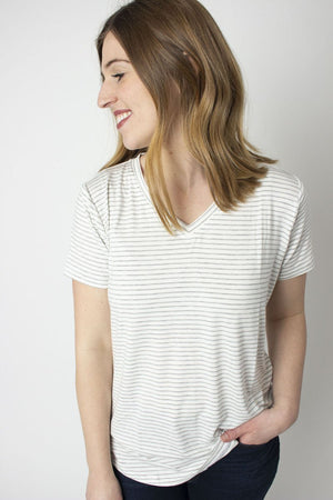 Rescued Cotton Overcast Stripe Vneck Tee