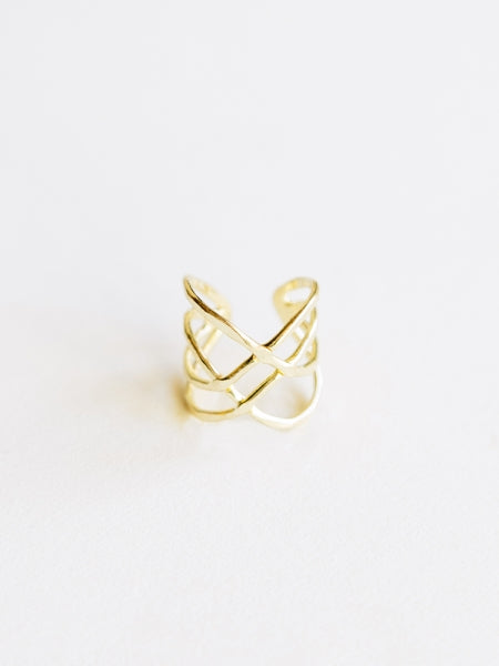 Criss Cross Adjustable Ring - Gold