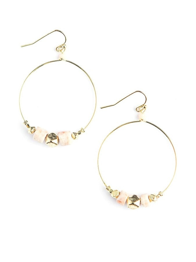 Pink Glass Hoops