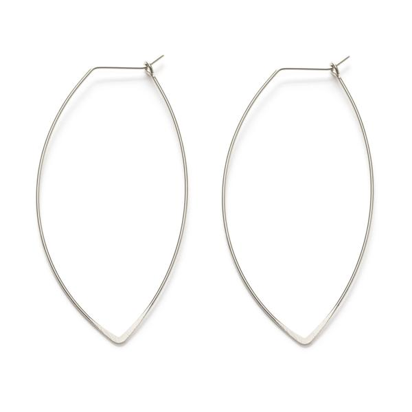 Marquise Hoop Earrings- Silver