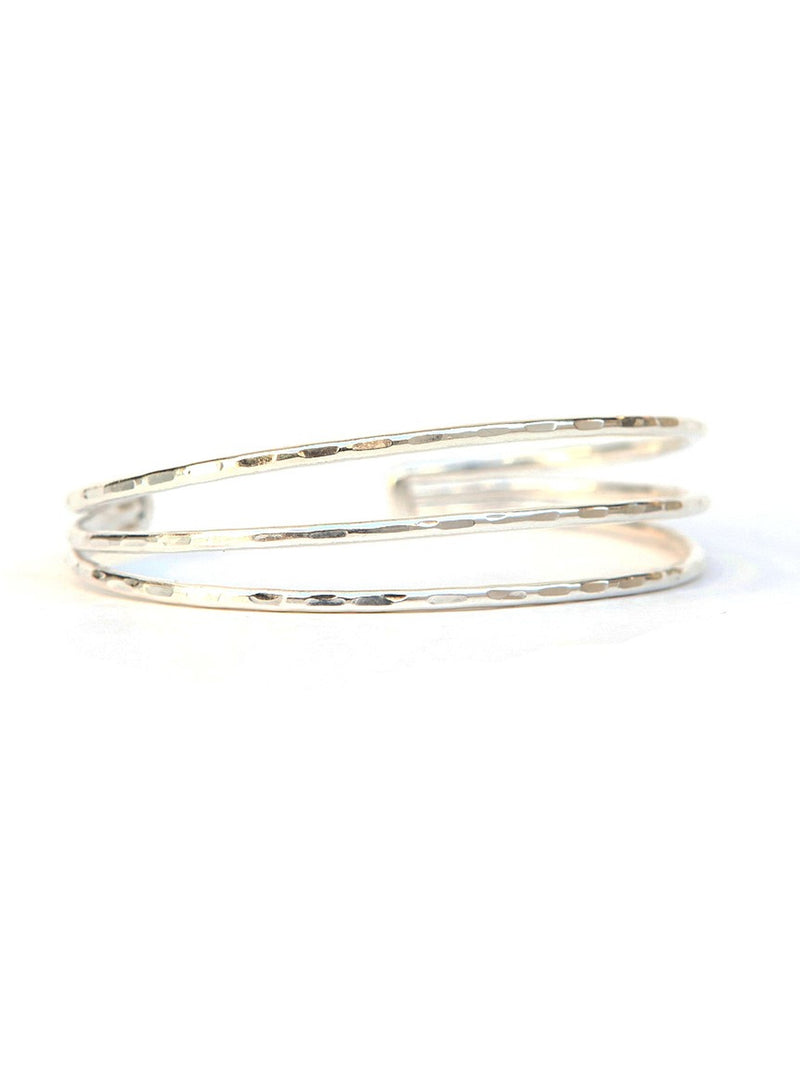 Hammered Lines Silver Cuff