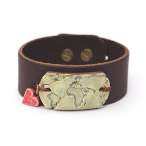 World Map Leather Cuff