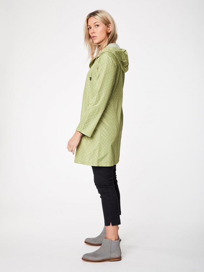 Recycled Light Lime Polka Raincoat