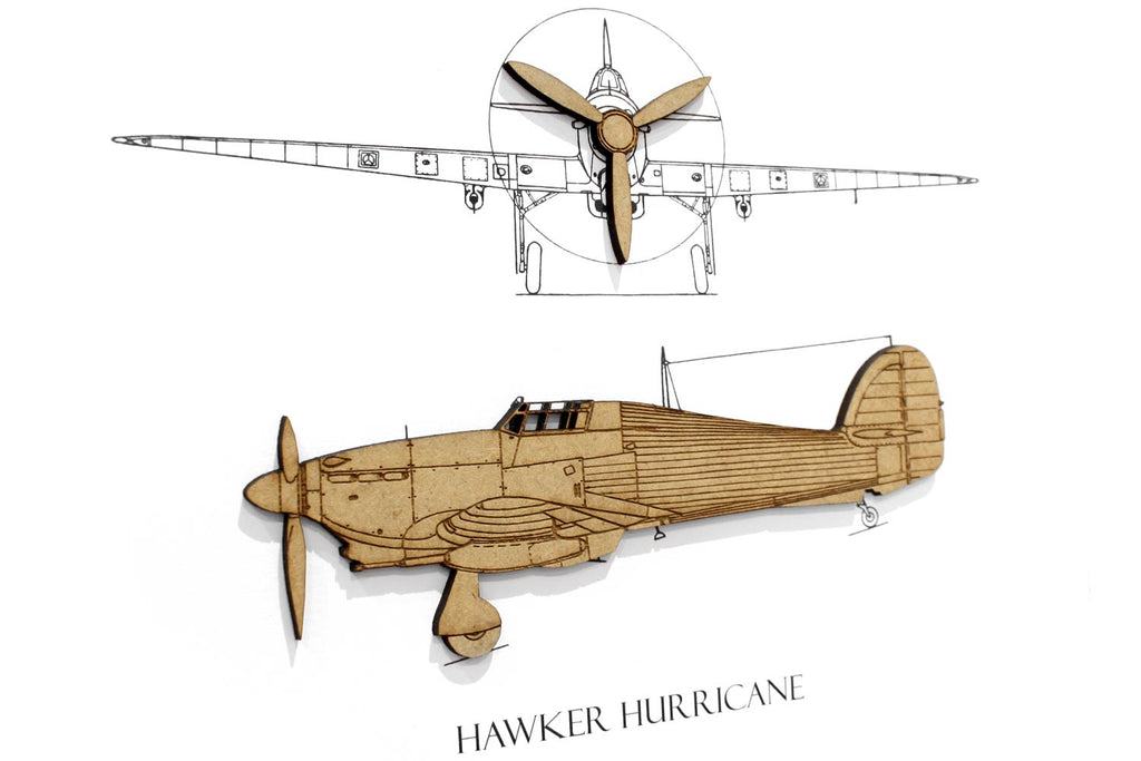 Hawker Hurricane art, aviation blueprint art
