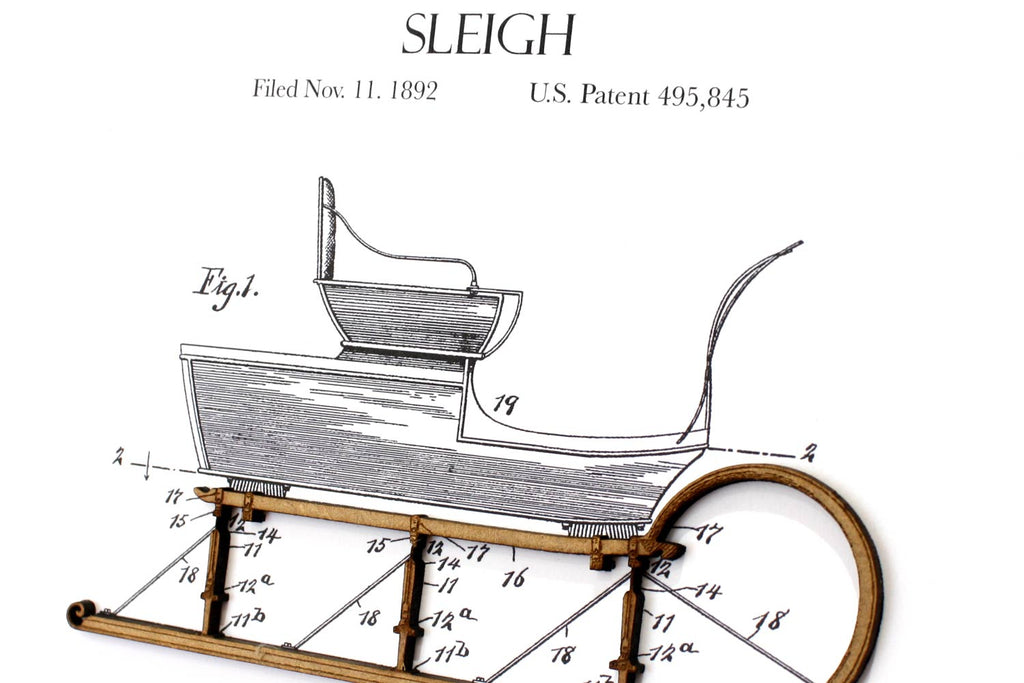 Christmas Decor, Snow Sleigh Patent Art
