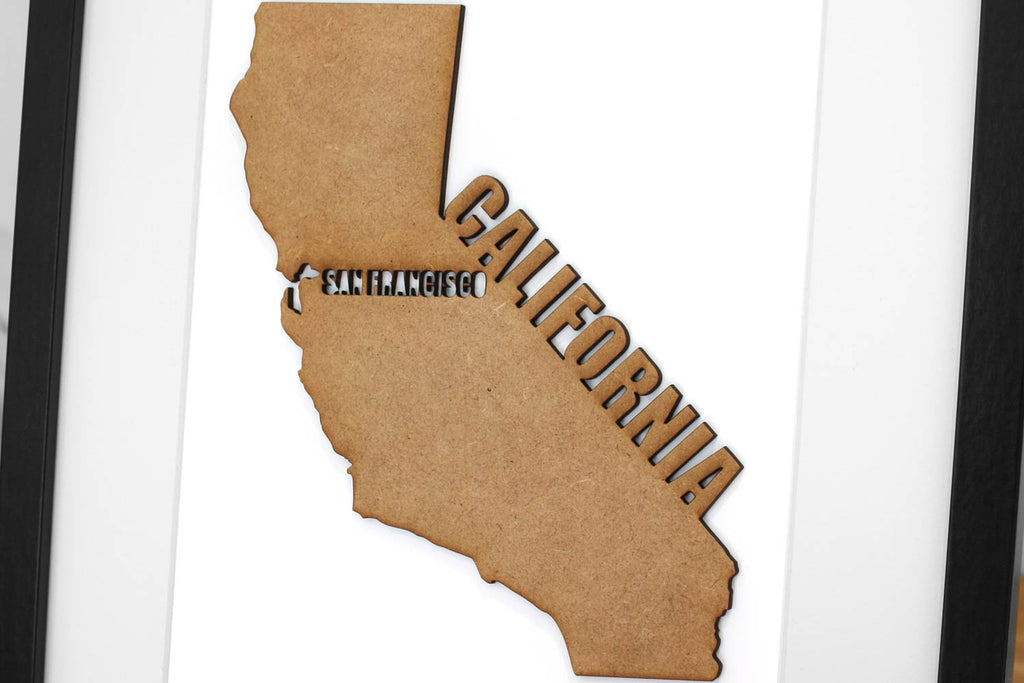 Custom California Map, Laser Cut Wood