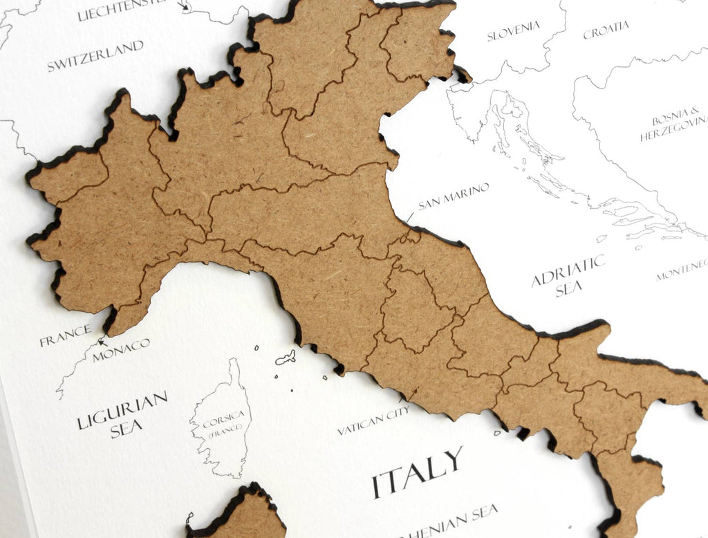 custom map of Italy, laser cut wood
